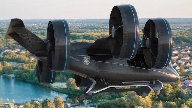 Uber'in uçan taksi konsepti Bell şirketinin ürettiği Nexus modeli.