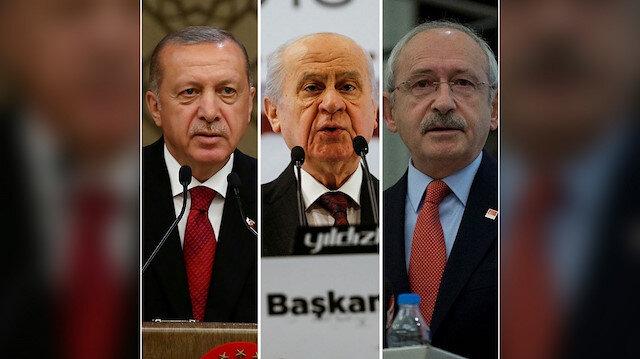 AK Parti Genel Başkanı ve Cumhurbaşkanı Recep Tayyip Erdoğan, MHP Genel Başkanı Devlet Bahçeli ve CHP Genel Başkanı Kemal Kılıçdaroğlu