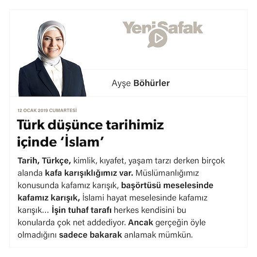 Türk düşünce tarihimiz içinde 'İslam'
