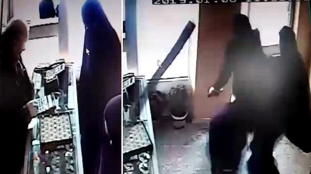 Sopayı gören kadın kılığındaki çarşaflı soyguncular böyle kaçtı