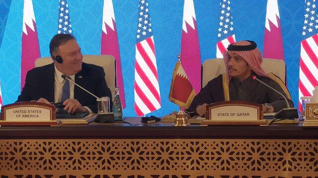 Pompeo Katar'ın başkenti Doha'da mevkidaşı Şeyh Muhammed bin Abdurrahman Al Sani ile bir araya geldi
