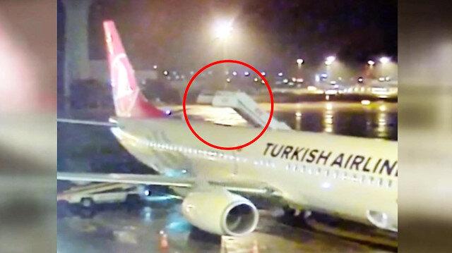 Merdiven aracı uçağa böyle çarptı