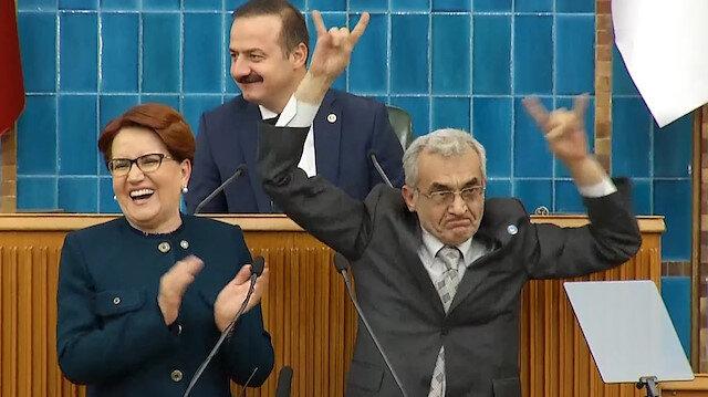 Kürsüde bozkurt işareti yapan İYİ Partili aday kendinden geçti