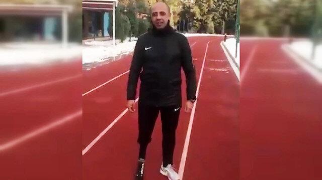 Bacağı kopan üç kez kalbi duran Afrin gazisi koşuya başladı