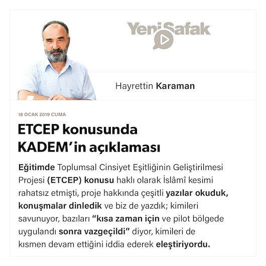 ETCEP konusunda KADEM'in açıklaması