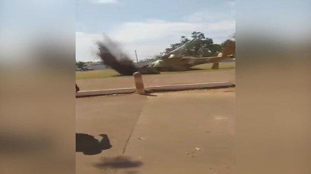 Kutlama için iniş yapan helikopter gösteri alanına düştü