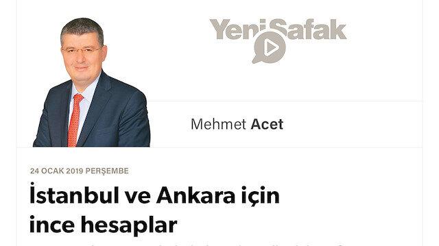 İstanbul ve ankara için ince hesaplar