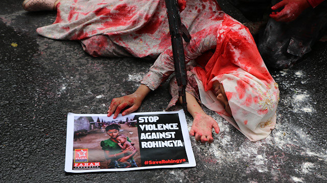 Indonesians protest Myanmar's oppressions towards Rohingya Muslims