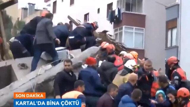 Çöken binadan bir kadının kurtarılma anı kamerada
