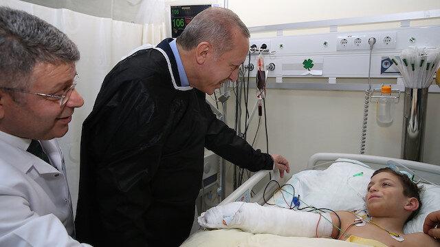 Erdoğan küçük Havva ve Tayyip Mahmutu ziyaret etti