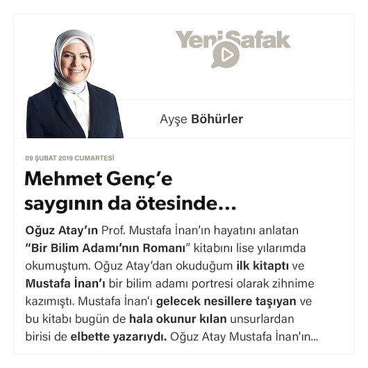 Mehmet Genç'e saygının da ötesinde…
