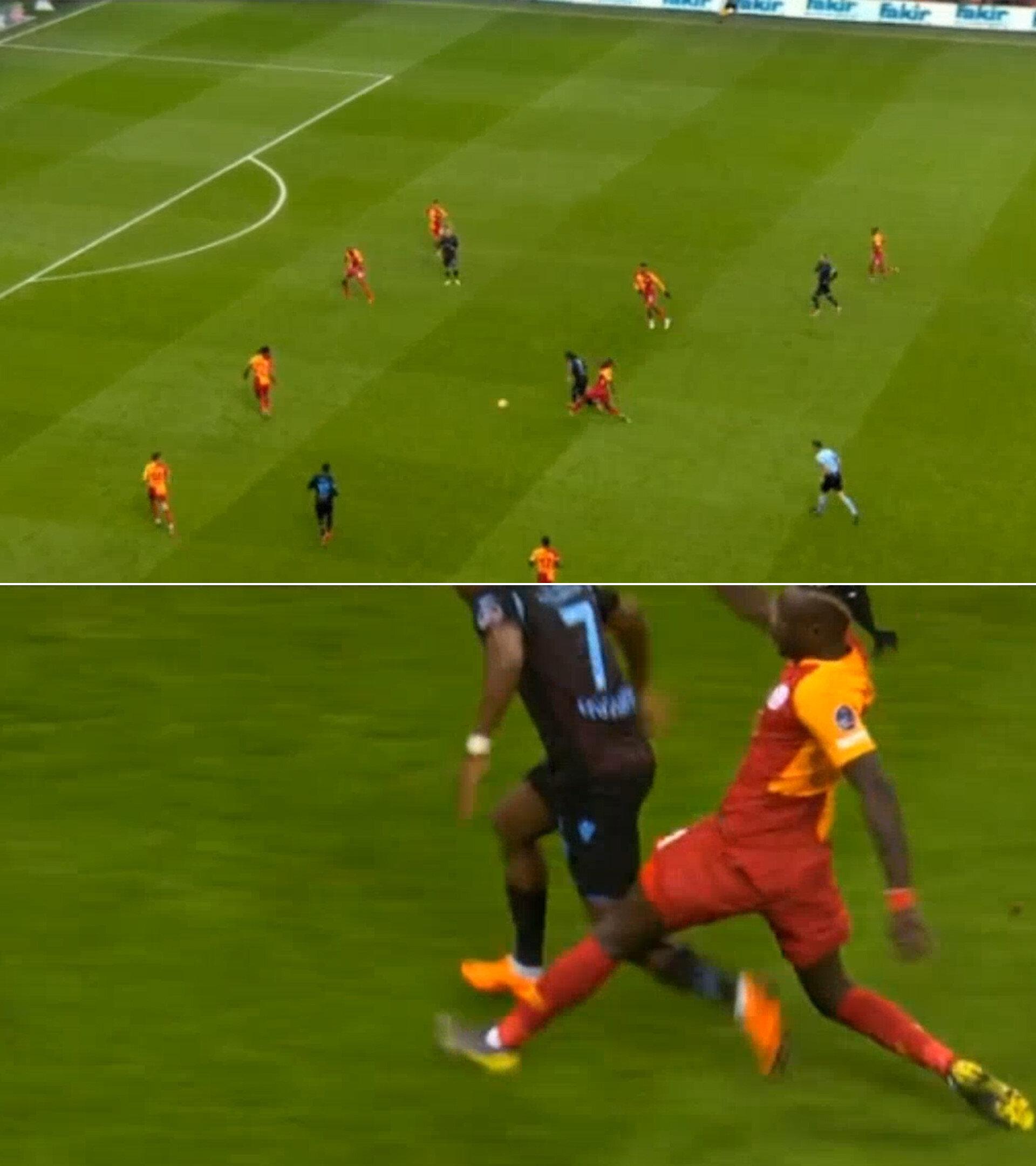Diagne'nin ikinci sarı kartı görmediği pozisyon.