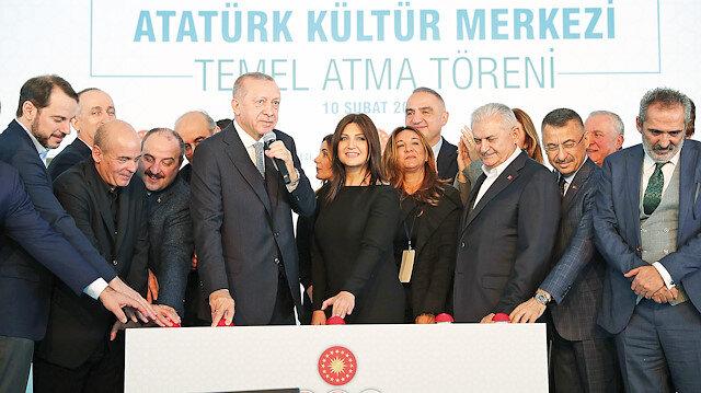 Cumhurbaşkanı Erdoğan, AKM'nin temel atma törenina katıldı.