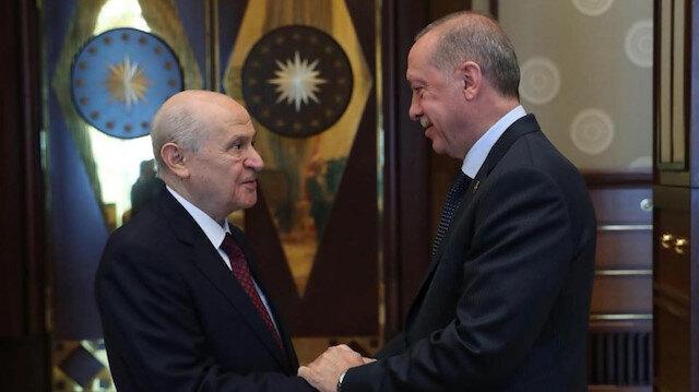 MHP Lideri Devlet Bahçeli ve Cumhurbaşkanı Recep Tayyip Erdoğan.