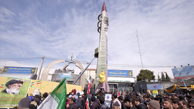 : Iranian-made Emad missile is displayed during a ceremony