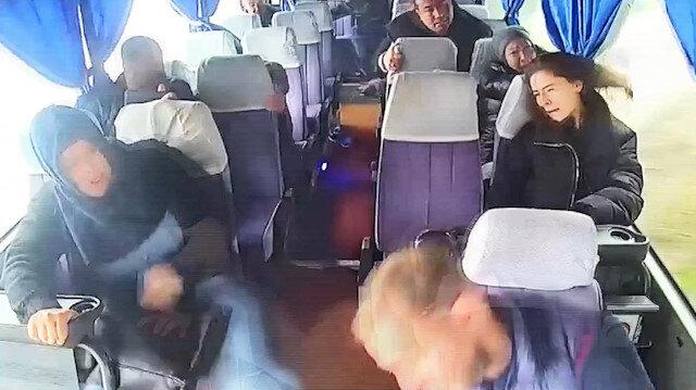 Midibüs kazasında yaşanan panik anları araç kamerasında