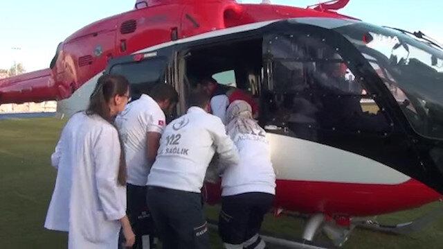 6 aylık bebek helikopterle hastaneye ulaştırıldı