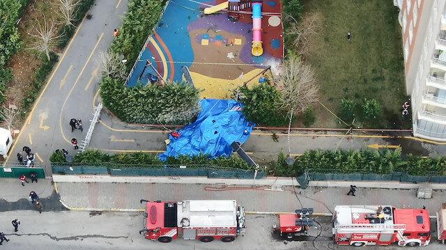 Helikopter enkazında son durum havadan fotoğraflandı.