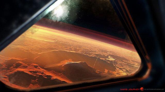 Bir uzay gemisinin penceresinden görülen kızıl gezegen çizimi.