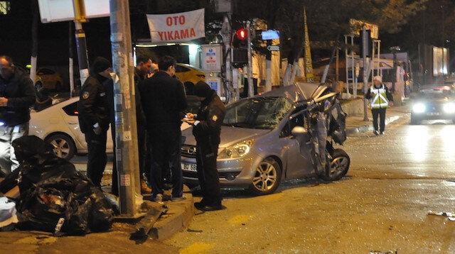 Ankara'da kazaya karışan araçlar