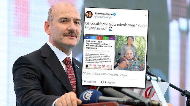 HDP 'kadın hakları'istismarına yanıt Süleyman Soylu'dan geldi