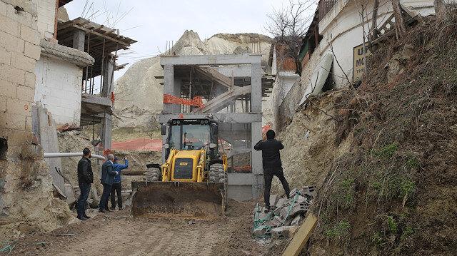 Göreme'deki otel inşaatının yıkımına başlandı.