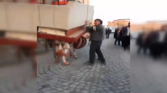 Eşeğe yüzlerce kilo ağırlığında ev eşyaları taşıttılar