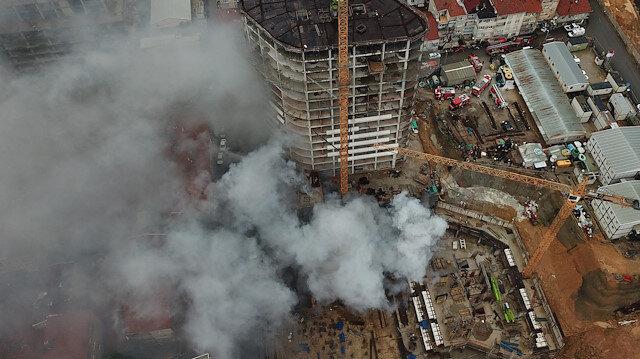 Fikirtepe'deki inşaatta çıkan yangın korkuttu