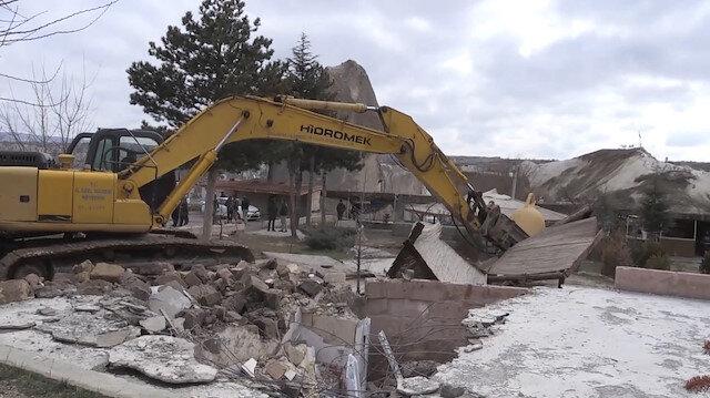 Kapadokya'daki yapıların yıkımlarına devam edildi