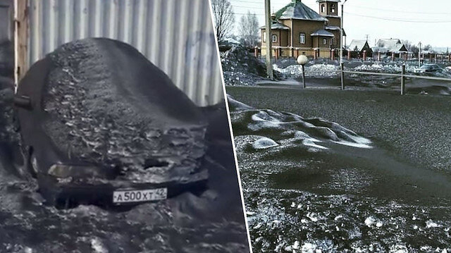 Sibirya'da siyah kar yağdı