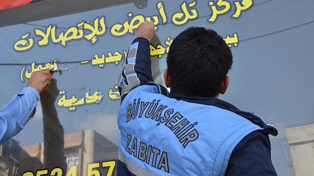 Zabıta Arapça tabelaların hepsini söktü