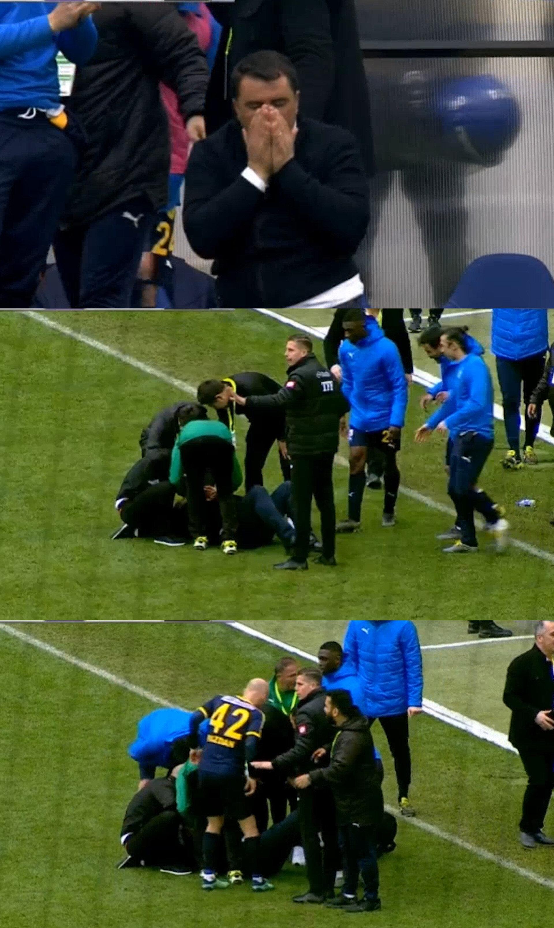 Mustafa Kaplan'ın sevinç sırasında yerde kaldığı anlar. (Görüntüler Bein Sports'tan alınmıştır)