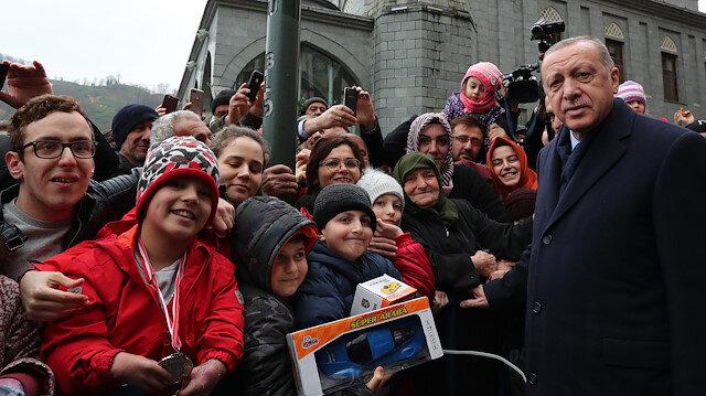 Cumhurbaşkanı Erdoğan'a memleketinde yoğun ilgi