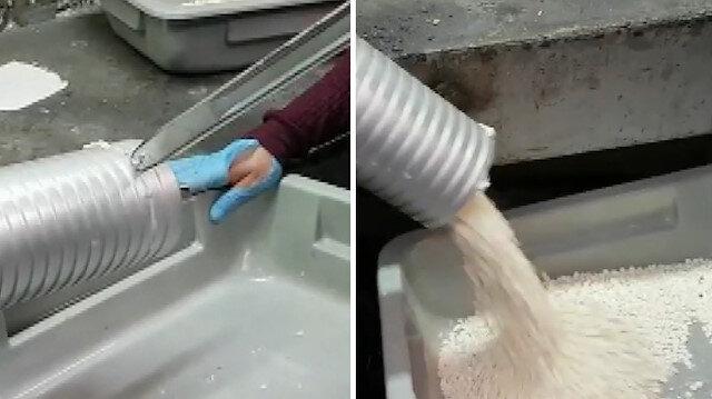 Yurt dışına gönderilecek hamur makinesinden binlerce hap çıktı