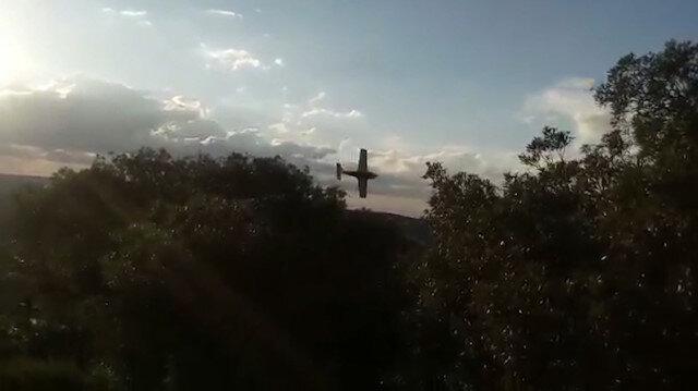 Uçağın ağaçlık alana düştüğü anlar amatör kameraya yansıdı