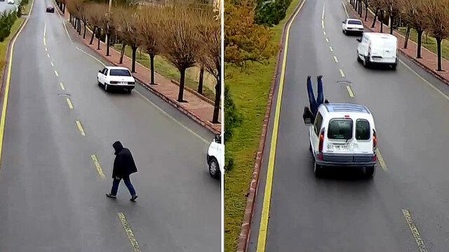 Dikkatsiz vatandaşa otomobil çarptı