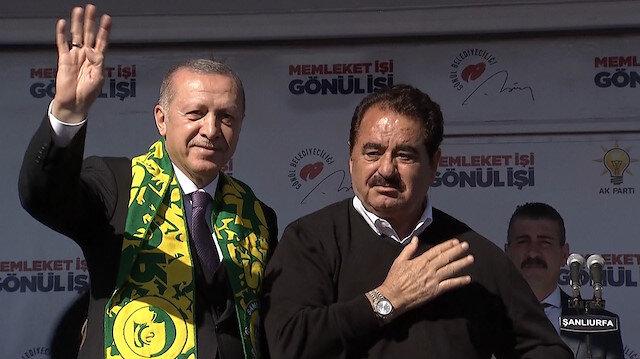 İbrahim Tatlıses mitingde Cumhurbaşkanı Erdoğanı yalnız bırakmadı