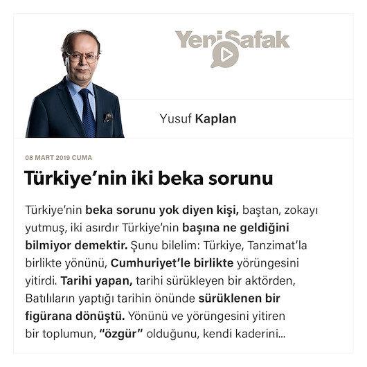 Türkiye'nin iki beka sorunu