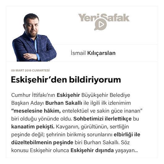 Eskişehir'den bildiriyorum