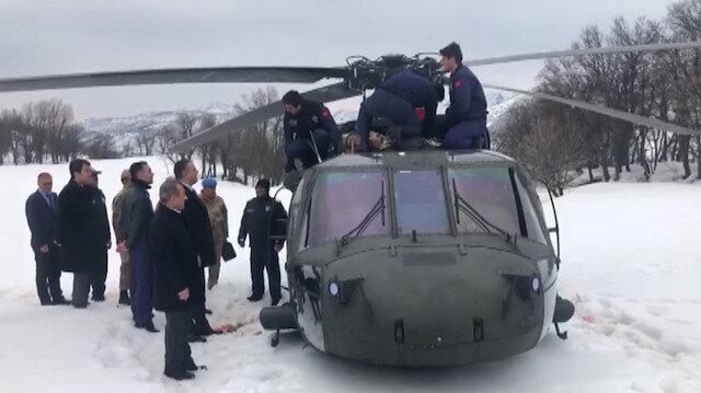 Zorunlu iniş yapan polis helikopterinden ilk görüntüler