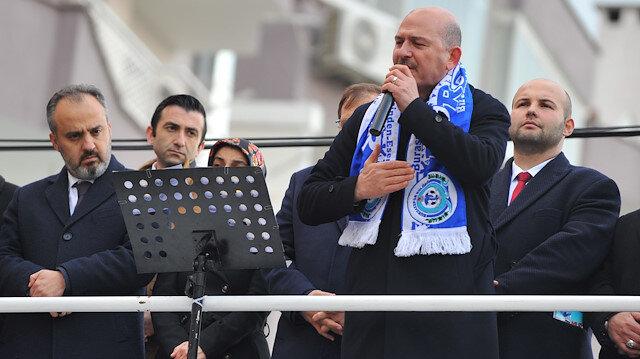İçişleri Bakanı Süleyman Soylu, Mudanya'da coşkulu kalabalığa seslendi.