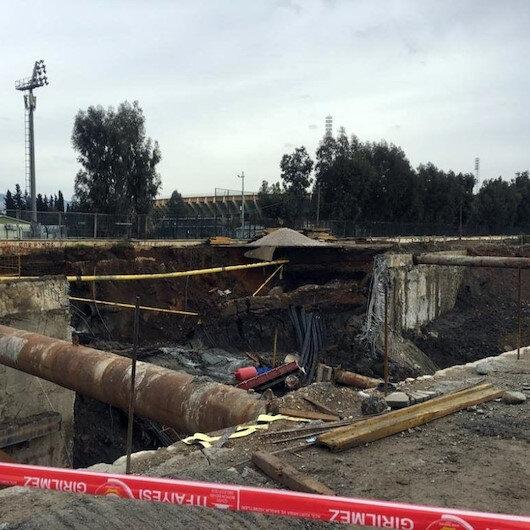 İzmir'de metro otopark inşaatı alanında göçük
