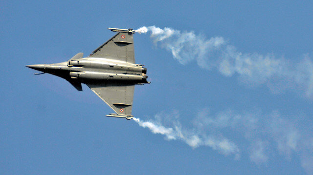 A Rafale fighter jet performs during the Aero India air show at Yelahanka air base