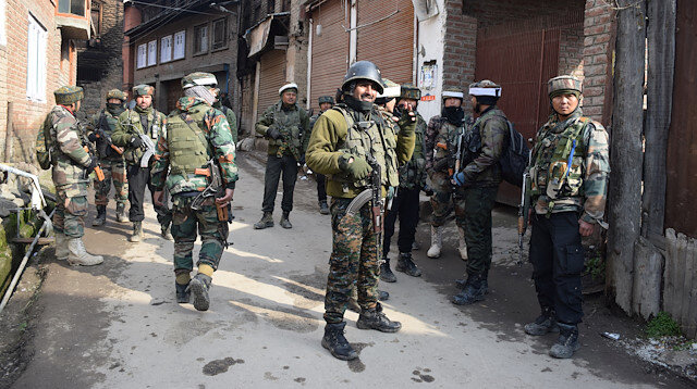 File photo : Indian Army soldiers stand guard in south Kashmir