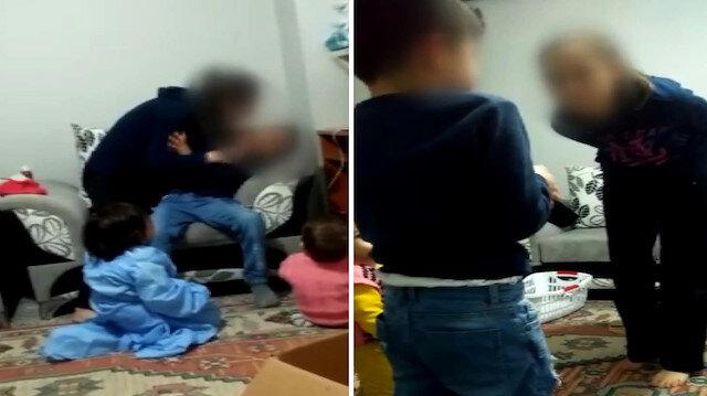 Acımasız kadından üvey oğluna şiddet kamerada