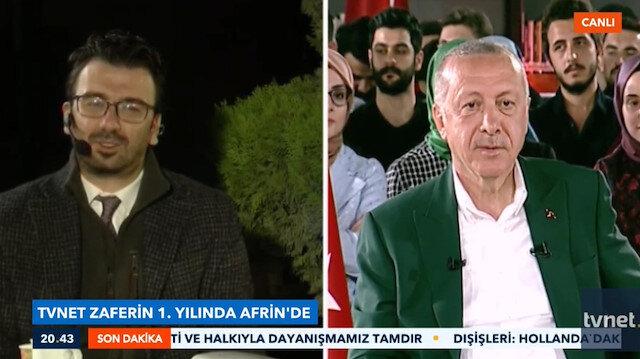 Erdoğan'dan TVNET canlı yayınında Afrin'e mesaj