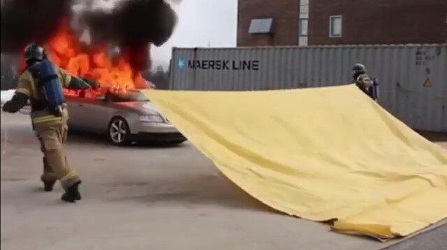 Yangın battaniyesi 20 saniyede yangını izole ediyor