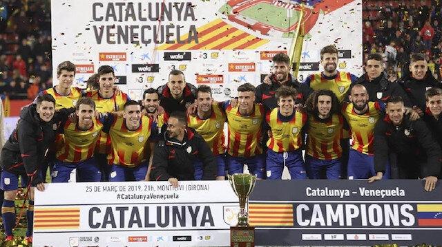 Katalonya, birçok ünlü futbolcunun da kadroda olduğu karşılaşmada Venezuela'yı 2-1 mağlup etti.