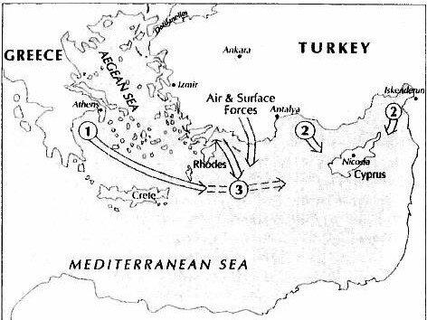Senaryoya göre Yunanistan, Güney Kıbrıs'a taktik balistik füzeler yerleştirme kararı alıyor. Türkiye, bunun olmaması yönünde Atina'yı sert şekilde uyarıyor. Geri adım atmayıp Kıbrıs'a doğru dümen kıran Yunan gemileri Türk ordusunca batırılıyor.