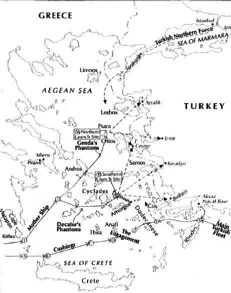 Kuzeyde Sakız, güneyde ise Amorgos adalarında üslenen Amerikan birlikleri Ayvalık, İzmir, Çeşme, Kuşadası ve Bodrum'u hedef alıyor. Girit kuzeyindeki takımadalar çevresinde de Türk donanmasıyla 6. Filo'nun muharebeleri öngörülüyor.